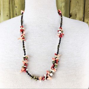 Jewelry - Coral, Shell & Bell Tribal Ethnic Necklace